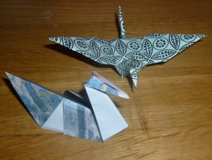 Origami Crane and Swan